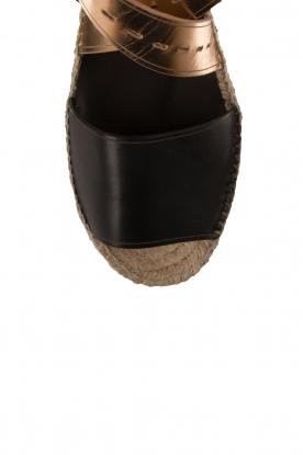 Hoss Intropia | Leren sandaal Kayleight | zwart-goud