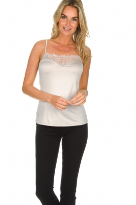 Hanro |  Top with lace details Jolina | natural