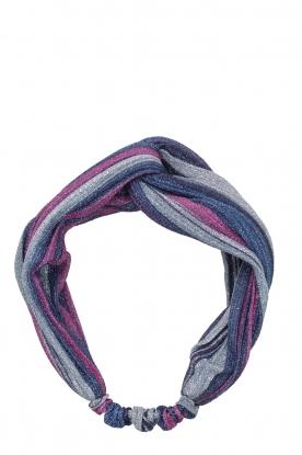 Becksöndergaard |  Striped bandeau headband Glittery | blue