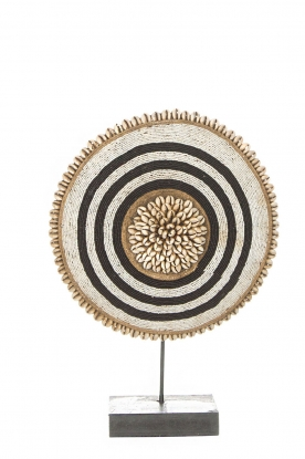 Little Soho Living | Shield with beads and shells Chase - small | black & white