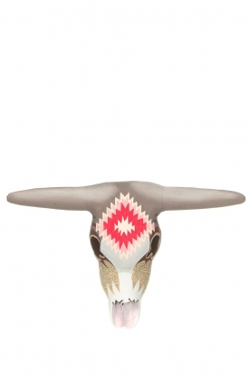 Little Soho Living | Hand-painted wooden buffalo mask Jay | grey/pink