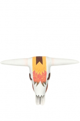 Little Soho Living | Hand-painted wooden buffalo mask Jake | white