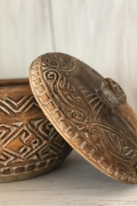 Little Soho Living |  Hand carved wooden pot Mason | brown