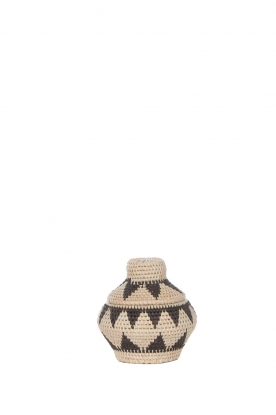 Little Soho Living | Printed rattan basket Pippa - extra small | black & white