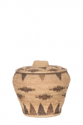 Little Soho Living |Rotan mand met print Amy - medium | camel