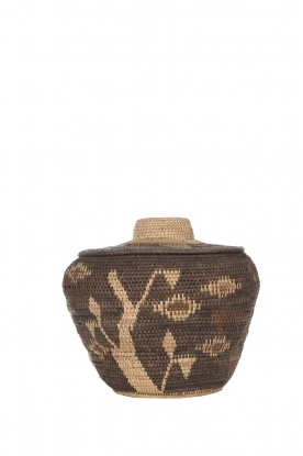 Little Soho Living | Printed rattan basket Hazel - medium | brown