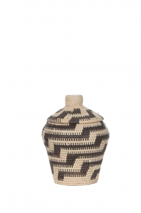 Little Soho Living | Printed rattan basket Jenna - small | black&white