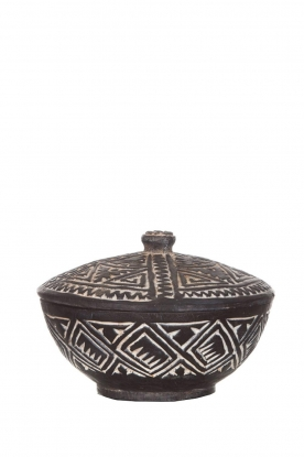 Little Soho Living | Hand carved wooden pot Ashton | black