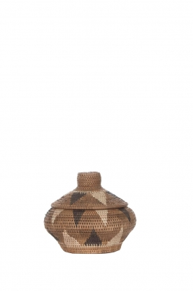 Little Soho Living | Printed rattan basket Hayley - small | brown