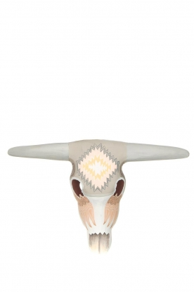 Little Soho Living |  Hand-painted wooden buffalo mask Jeff | grey/light pink