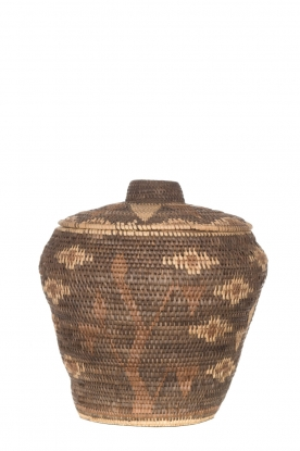 Little Soho Living |  Printed rattan basket Lizzy - medium | brown