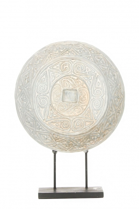 Little Soho Living | Rond ornament op een standaard Kean | wit