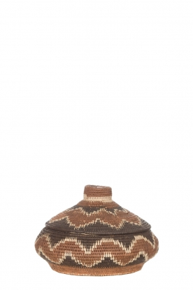 Little Soho Living |  Printed rattan basket Norah - small | brown