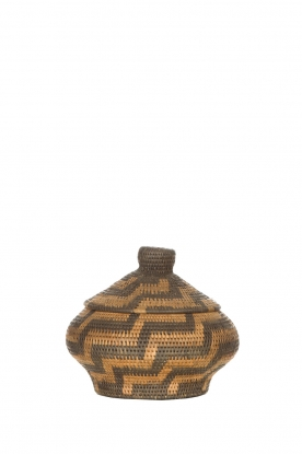 Little Soho Living |  Printed rattan basket Grace - small | brown