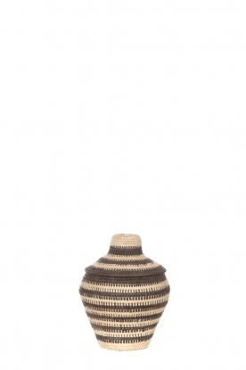 Little Soho Living |  Striped rattan basket Charlie - small | black & white