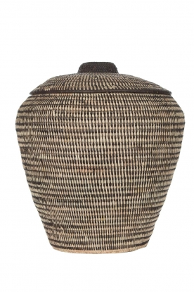 Little Soho Living | Striped rattan basket Megan - extra large | black & white