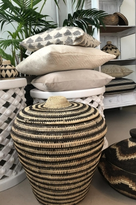 Little Soho Living |  Striped rattan basket Emily - extra large | black & white