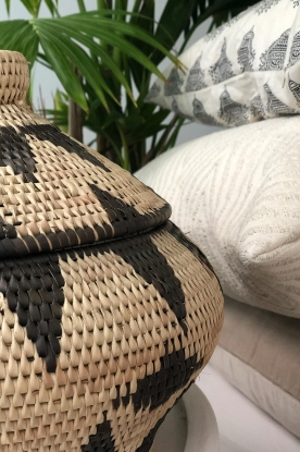 Little Soho Living |  Printed rattan basket Jill - small | natural