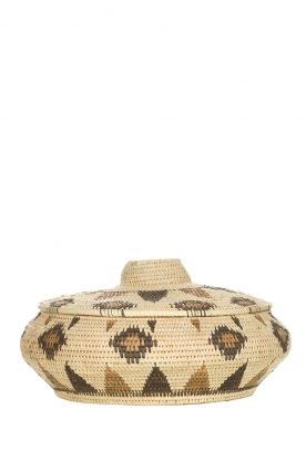 Little Soho Living |  Printed rattan basket Faye - low | natural