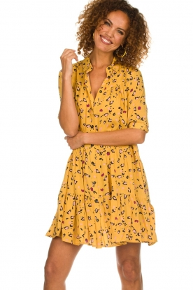 Melt |  Dress with leopard print Lune | yellow