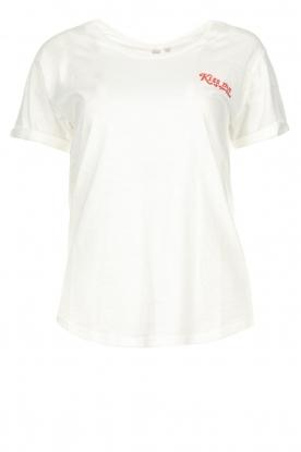 Melt |  T-shirt with print Kiss Me | white