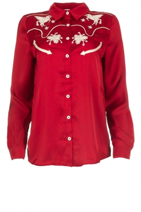 Melt |  Blouse with embroidery Hot Sauce | red