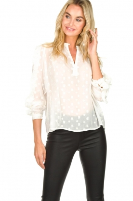 Munthe |  Dotted blouse with ruffles Annie | natural