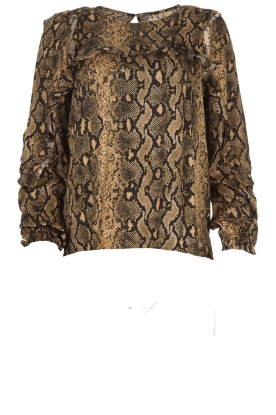Munthe |  Blouse with snake print  Andy | black