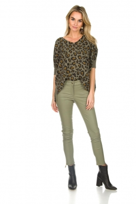 Arma |  Leather pants with zip pockets Cadiz | green
