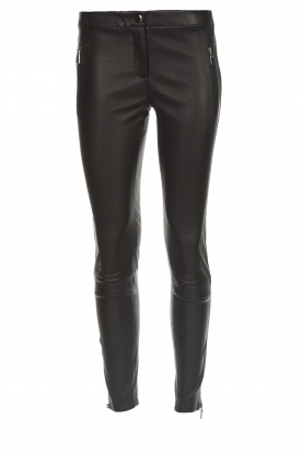 Arma |  Leather pants with zip pockets Cadiz | black
