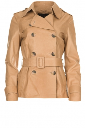Arma |  Short leather trench coat Melanie | brown