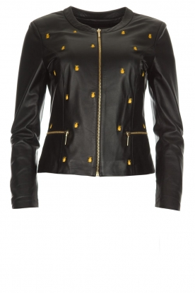 Arma |  Leather jacket with embroideries Allure | black