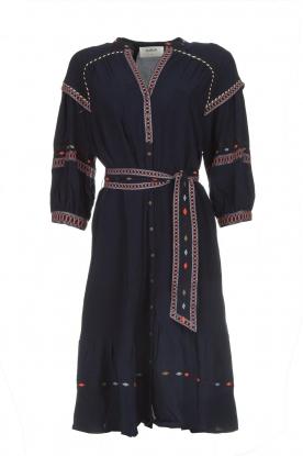BA&SH Midi blousejurk met borduursels Patty  blauw