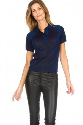 ba&sh |  Glitter polo top Lima | blue