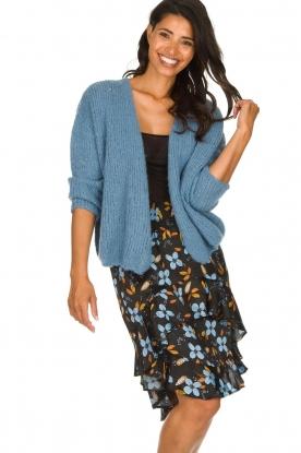 Munthe |  Floral midi skirt Dartfish | black