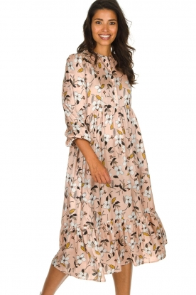 Munthe |  Floral midi dress Dull | nude
