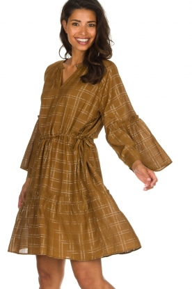 Munthe |  Dress with checkered lurex pattern Deep | camel