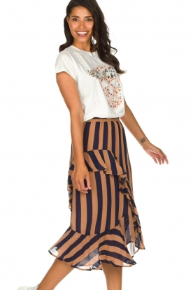 Munthe |  Striped midi skirt Dom | brown