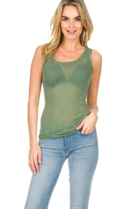 American Vintage |  Cotton tank top Massachusetts | green
