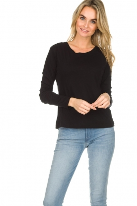 American Vintage |  Cotton longsleeve top Chipiecat | black