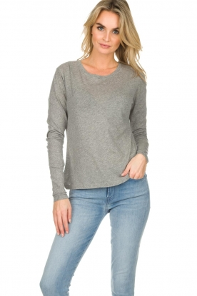 American Vintage |  Cotton longsleeve top Chipiecat | grey