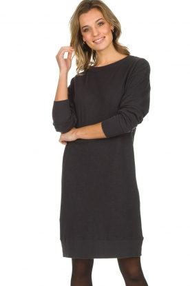 American Vintage |  Cotton basic dress Sonoma | dark grey