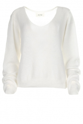 American Vintage |  Knitted sweater with wide neckline Ugoball | white