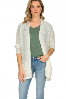 American Vintage |  Knitted cardigan Boolder | white