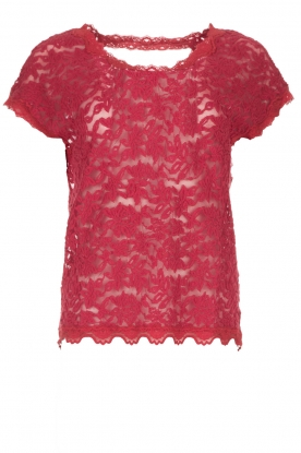 Rosemunde | Lace top with low back Lieve | raspberry red