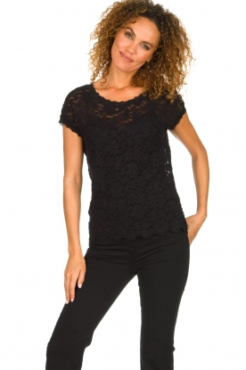 Rosemunde |  Lace top with low back Lieve | black