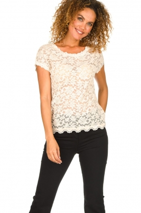 Rosemunde |  Lace top with low back Lieve | natural