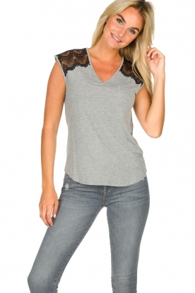 Rosemunde |  Top with lace Lulu | grey