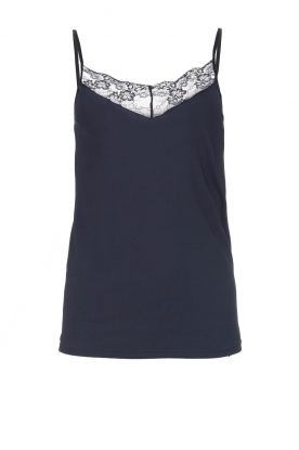 Rosemunde |  Sleeveless top with lace Lotus | blue