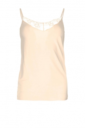 Rosemunde |  Sleeveless top with lace Lotus | natural